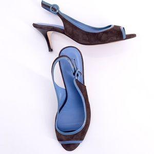 Boden Suede Slingback Heels Brown Blue Trim 39 8